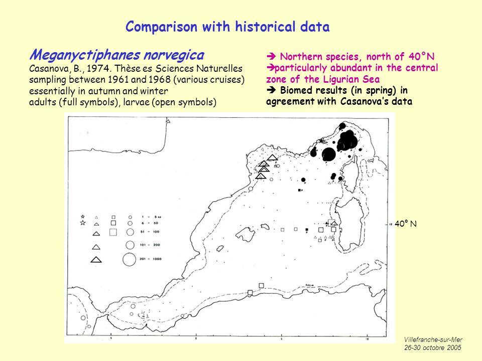Villefranche-sur-Mer 26-30 octobre 2005 Comparison with historical data Meganyctiphanes norvegica Casanova, B., 1974.