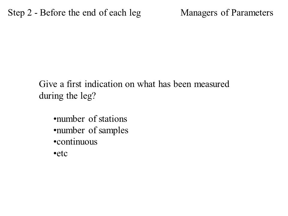 Give a first indication on what has been measured during the leg.