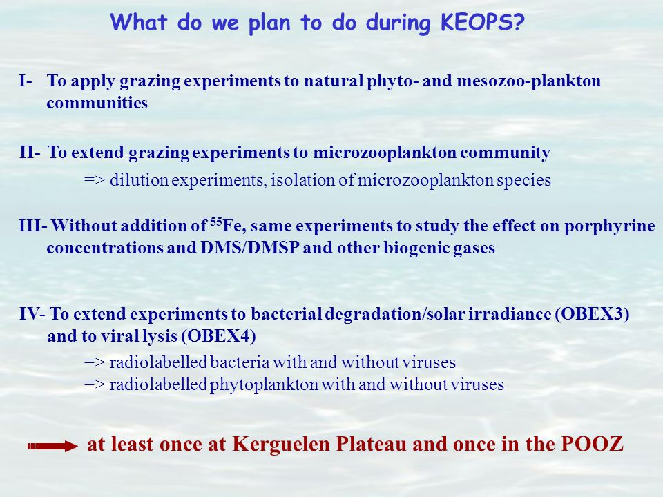 What do we plan to do during KEOPS? I- To apply grazing experiments to natural phyto- and mesozoo-plankton communities II- To extend grazing experimen