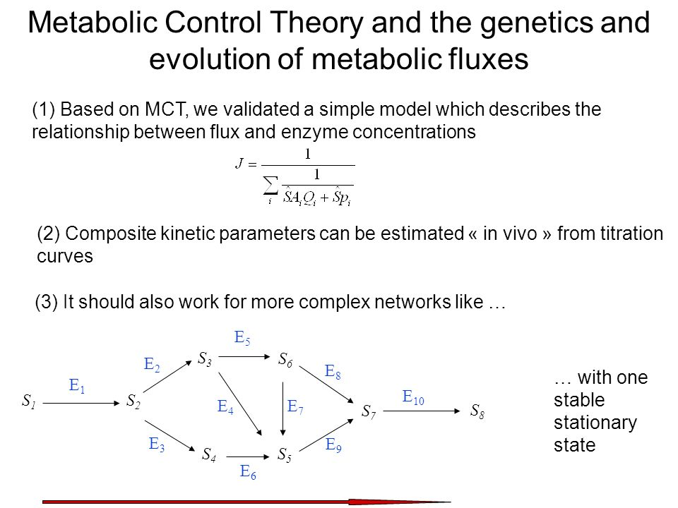 Metabolic Control Theory and the genetics and evolution of metabolic fluxes (1) Based on MCT, we validated a simple model which describes the relation
