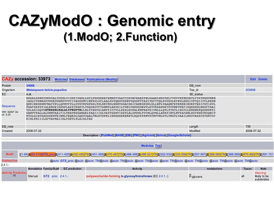 CAZyModO : Genomic entry (1.ModO; 2.Function)