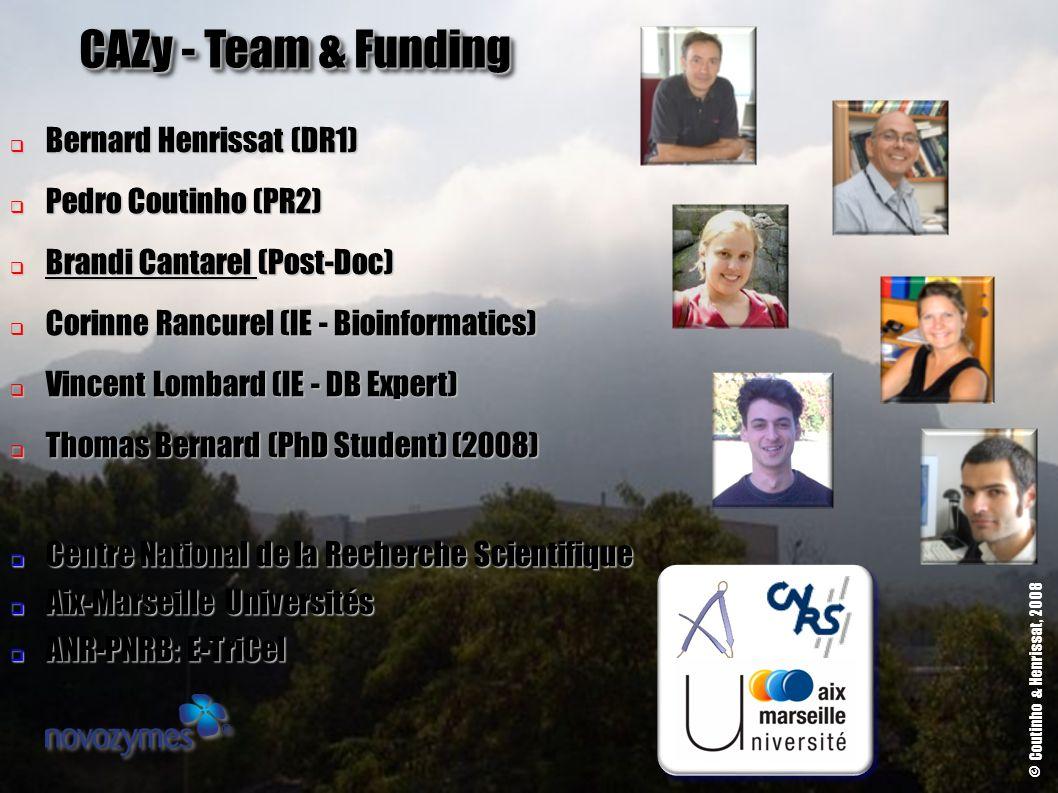 CAZy - Team & Funding Bernard Henrissat (DR1) Bernard Henrissat (DR1) Pedro Coutinho (PR2) Pedro Coutinho (PR2) Brandi Cantarel (Post-Doc) Brandi Cant