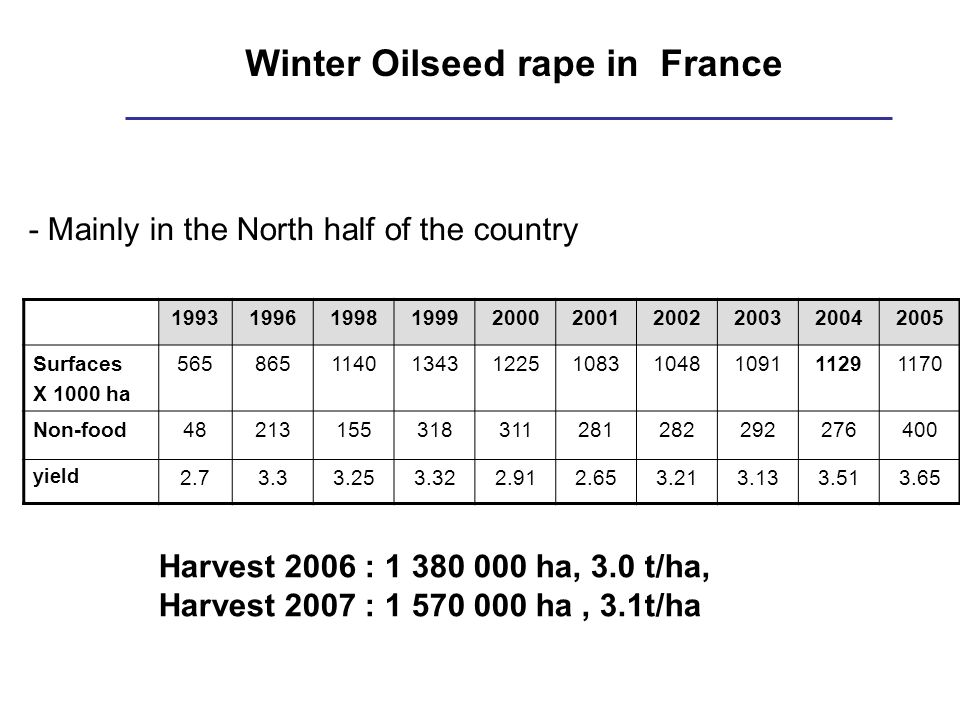 Winter Oilseed rape in France - Mainly in the North half of the country Harvest 2006 : 1 380 000 ha, 3.0 t/ha, Harvest 2007 : 1 570 000 ha, 3.1t/ha 1993199619981999200020012002200320042005 Surfaces X 1000 ha 56586511401343122510831048109111291170 Non-food48213155318311281282292276400 yield 2.73.33.253.322.912.653.213.133.513.65