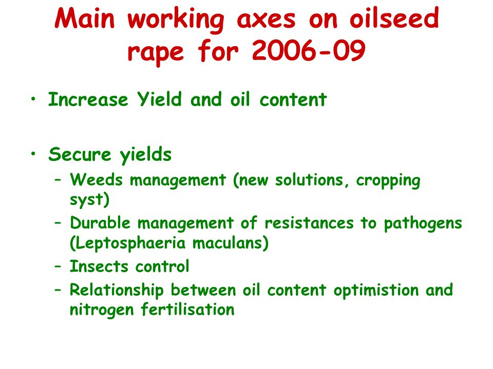 Main working axes on oilseed rape for 2006-09 Increase Yield and oil content Secure yields –Weeds management (new solutions, cropping syst) –Durable management of resistances to pathogens (Leptosphaeria maculans) –Insects control –Relationship between oil content optimistion and nitrogen fertilisation