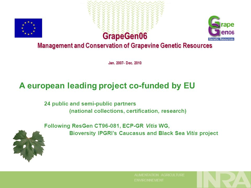 ALIMENTATION AGRICULTURE ENVIRONNEMENT GrapeGen06 Management and Conservation of Grapevine Genetic Resources Jan.