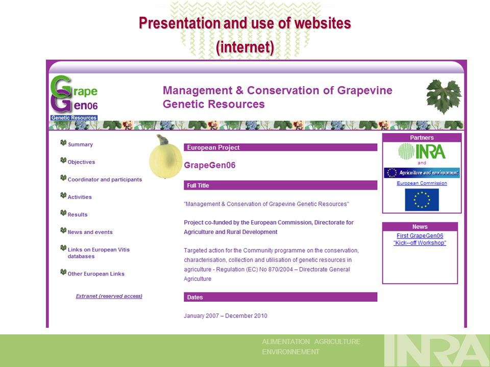 ALIMENTATION AGRICULTURE ENVIRONNEMENT Presentation and use of websites (internet)