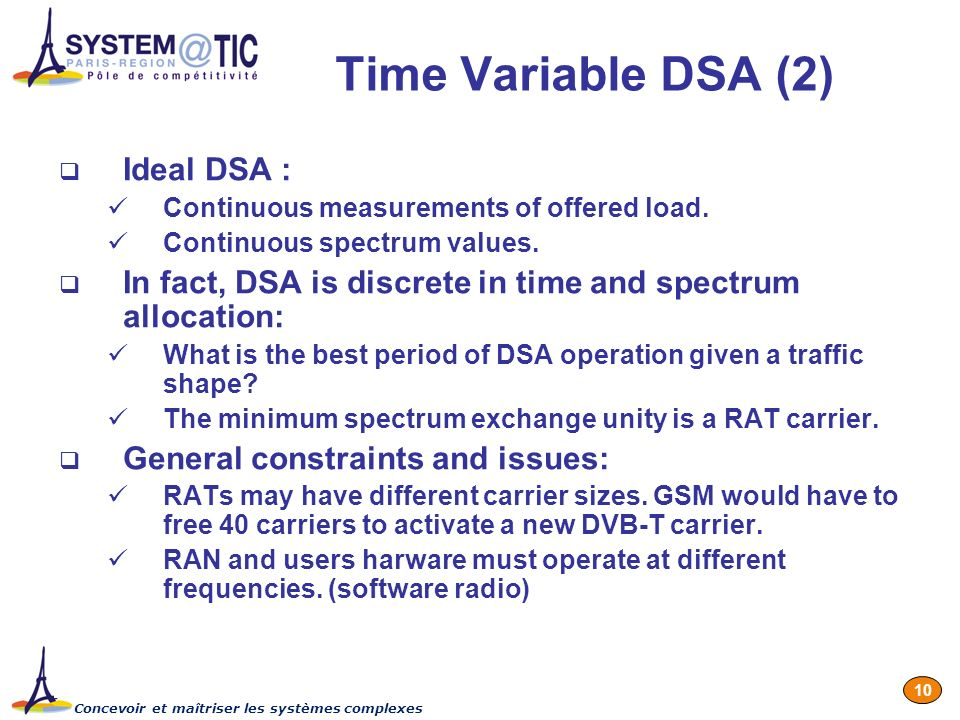 Concevoir et maîtriser les systèmes complexes 10 Time Variable DSA (2) Ideal DSA : Continuous measurements of offered load.