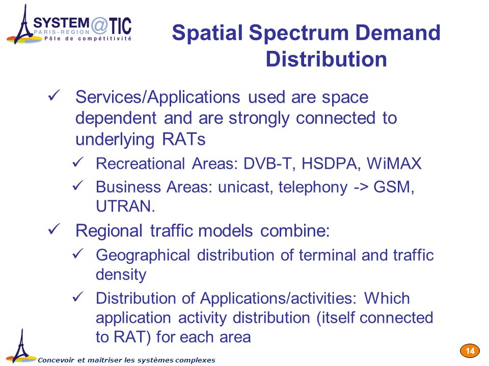Concevoir et maîtriser les systèmes complexes 14 Spatial Spectrum Demand Distribution Services/Applications used are space dependent and are strongly connected to underlying RATs Recreational Areas: DVB-T, HSDPA, WiMAX Business Areas: unicast, telephony -> GSM, UTRAN.