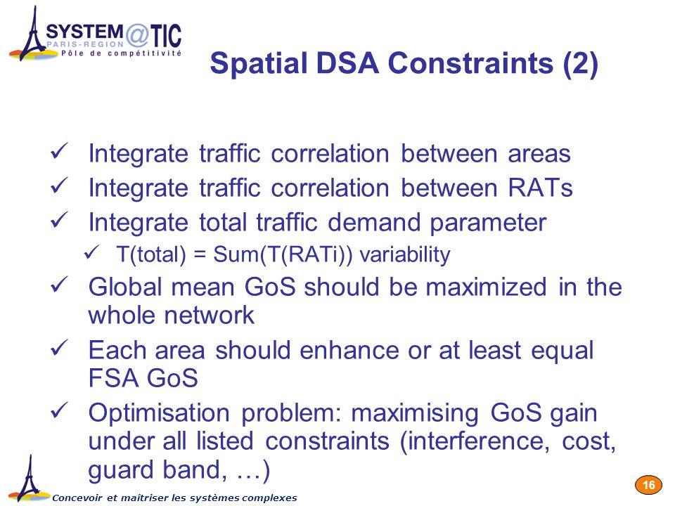 Concevoir et maîtriser les systèmes complexes 16 Spatial DSA Constraints (2) Integrate traffic correlation between areas Integrate traffic correlation