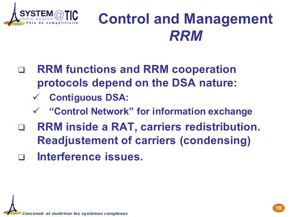 Concevoir et maîtriser les systèmes complexes 19 Control and Management RRM RRM functions and RRM cooperation protocols depend on the DSA nature: Cont