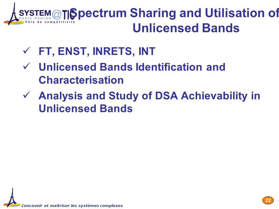 Concevoir et maîtriser les systèmes complexes 22 Spectrum Sharing and Utilisation of Unlicensed Bands FT, ENST, INRETS, INT Unlicensed Bands Identific