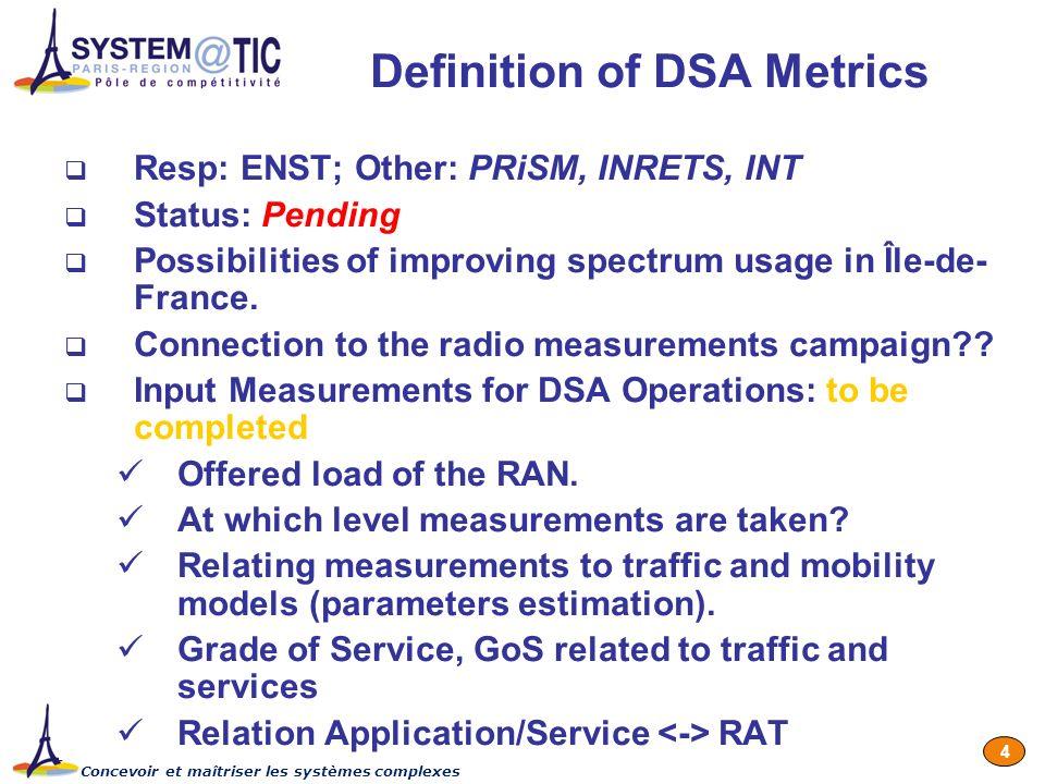 Concevoir et maîtriser les systèmes complexes 4 Definition of DSA Metrics Resp: ENST; Other: PRiSM, INRETS, INT Status: Pending Possibilities of impro