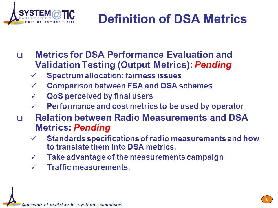 Concevoir et maîtriser les systèmes complexes 6 Definition of DSA Metrics Metrics for DSA Performance Evaluation and Validation Testing (Output Metric