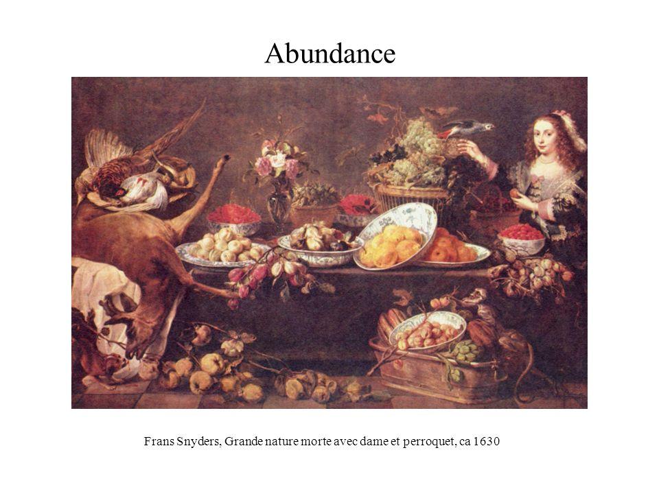 Abundance Frans Snyders, Grande nature morte avec dame et perroquet, ca 1630