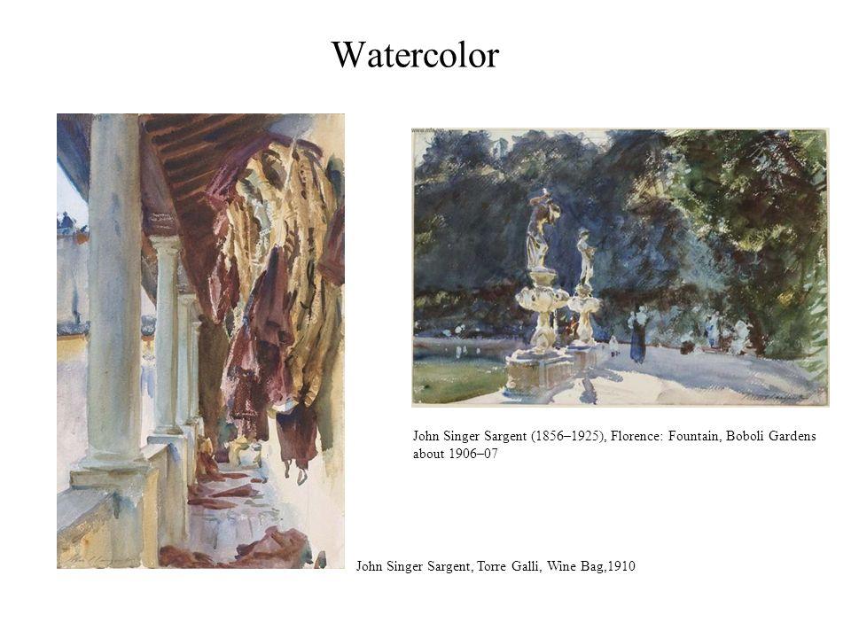 Watercolor John Singer Sargent, Torre Galli, Wine Bag,1910 John Singer Sargent (1856–1925), Florence: Fountain, Boboli Gardens about 1906–07
