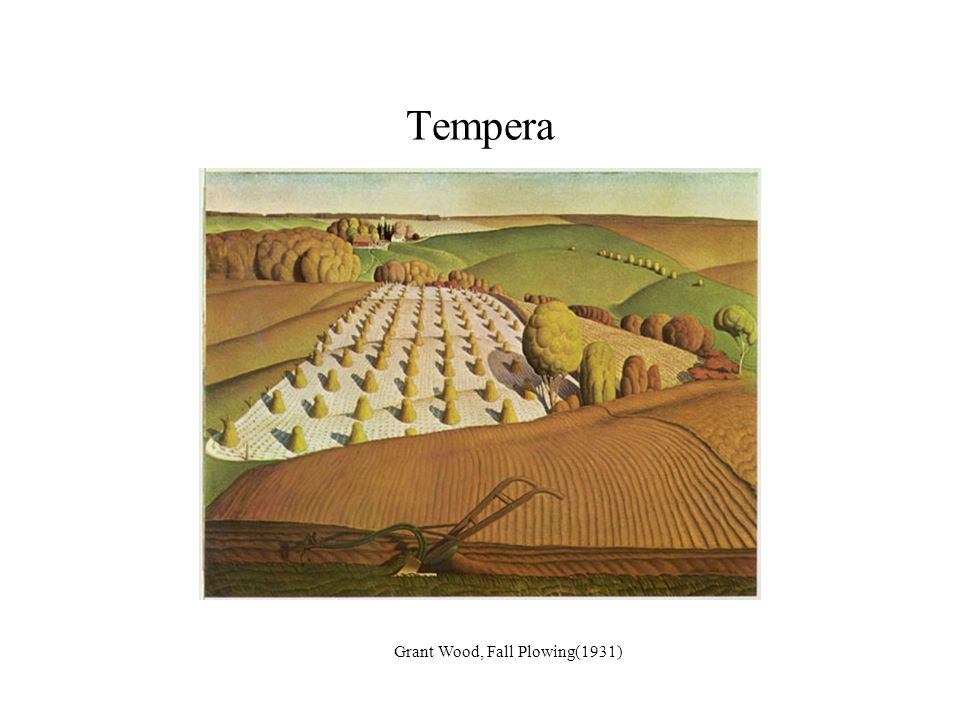 Tempera Grant Wood, Fall Plowing(1931)
