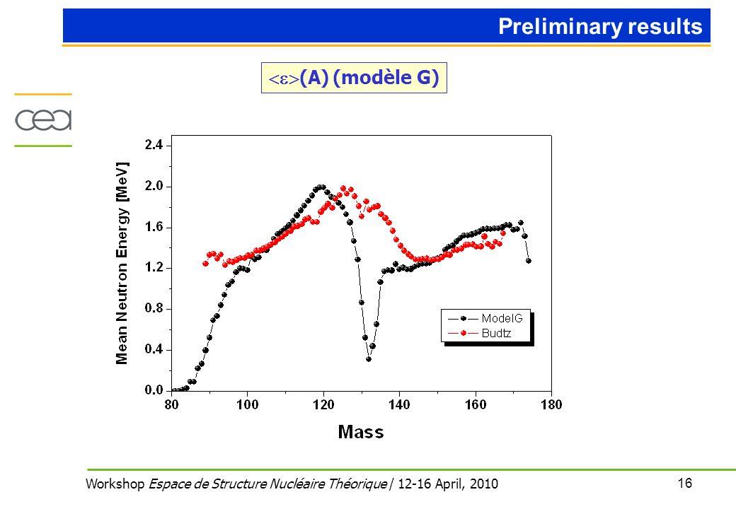 16 Workshop Espace de Structure Nucléaire Théorique / 12-16 April, 2010 (A) (modèle G) Preliminary results