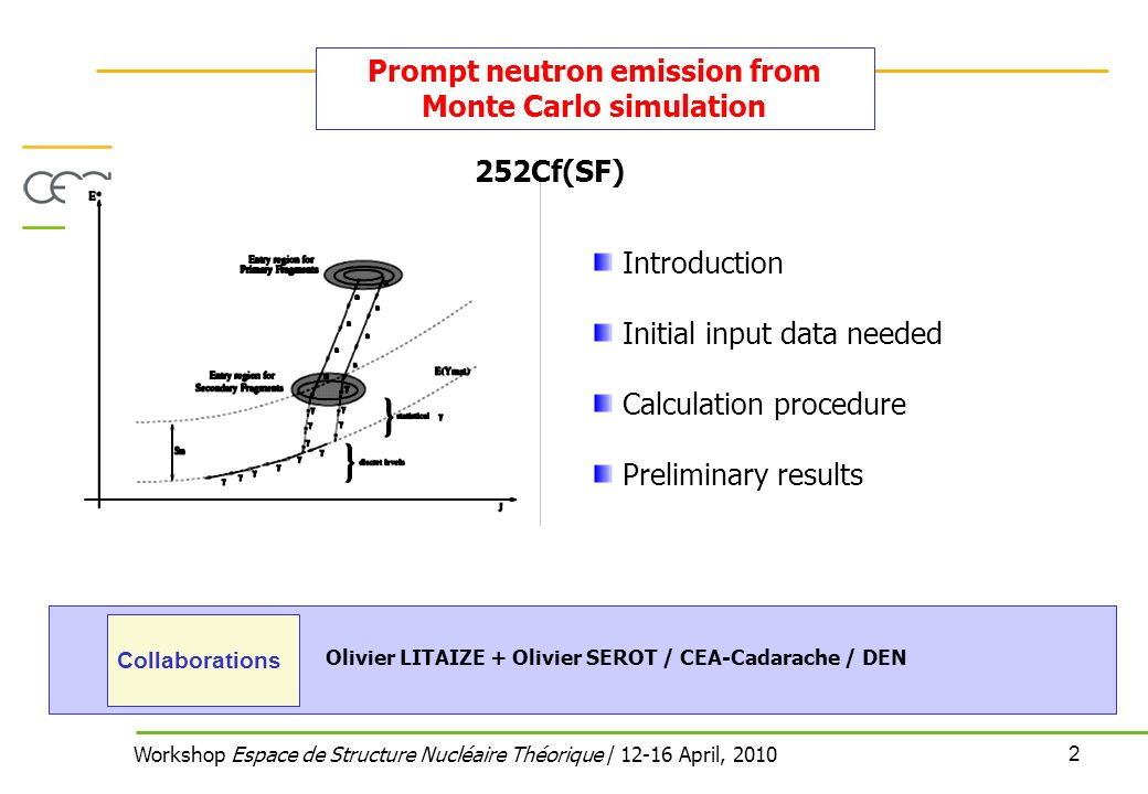 2 Workshop Espace de Structure Nucléaire Théorique / April, 2010 Prompt neutron emission from Monte Carlo simulation Introduction Initial input data needed Calculation procedure Preliminary results Olivier LITAIZE + Olivier SEROT / CEA-Cadarache / DEN Collaborations 252Cf(SF)