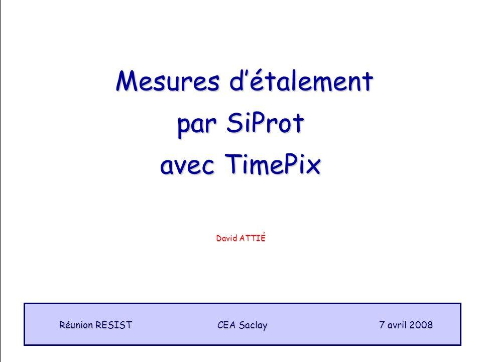 1 Mesures détalement Mesures détalement par SiProt avec TimePix CEA Saclay Réunion RESIST 7 avril 2008 David ATTIÉ