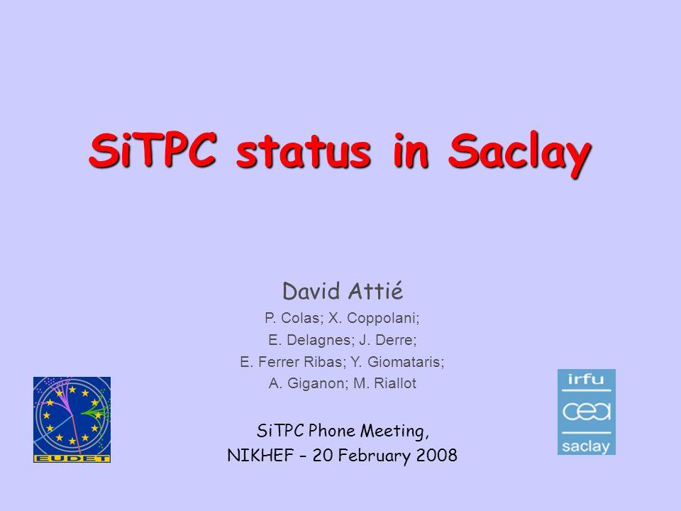 David.Attie@cea.frSiTPC Phone Meeting, NIKHEF – 20.02.20081 SiTPC status in Saclay David Attié P. Colas; X. Coppolani; E. Delagnes; J. Derre; E. Ferre