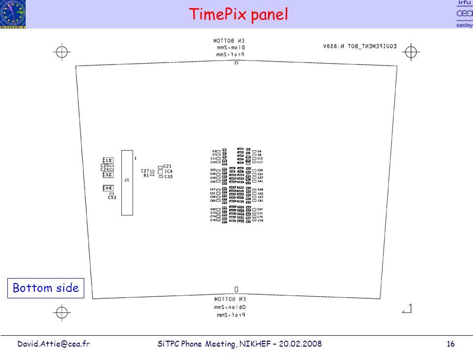 David.Attie@cea.frSiTPC Phone Meeting, NIKHEF – 20.02.200816 TimePix panel Bottom side