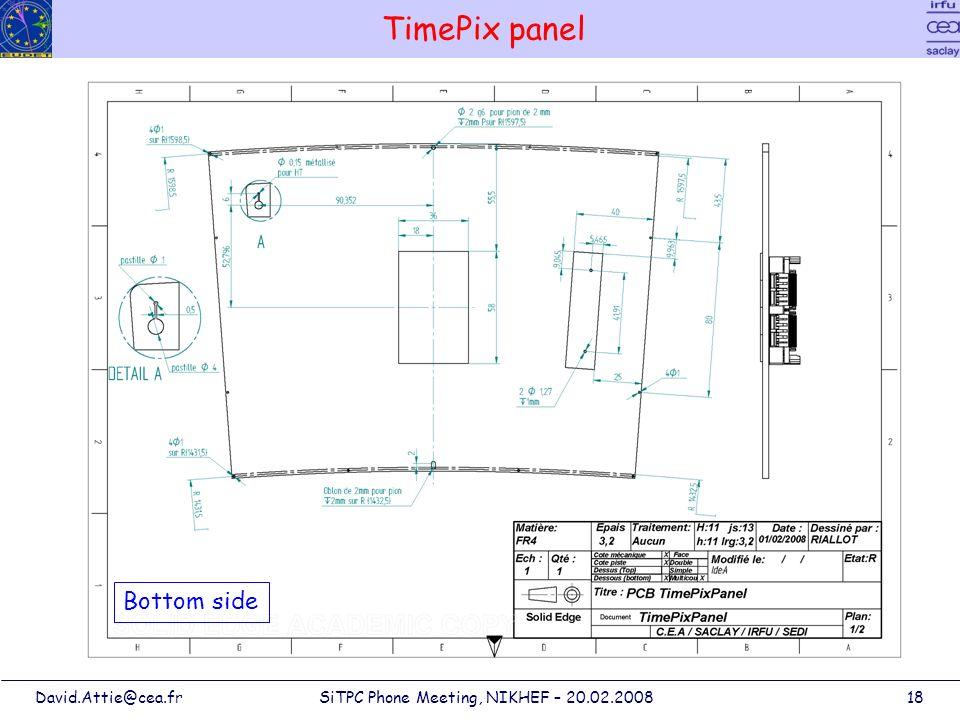 David.Attie@cea.frSiTPC Phone Meeting, NIKHEF – 20.02.200818 TimePix panel Bottom side