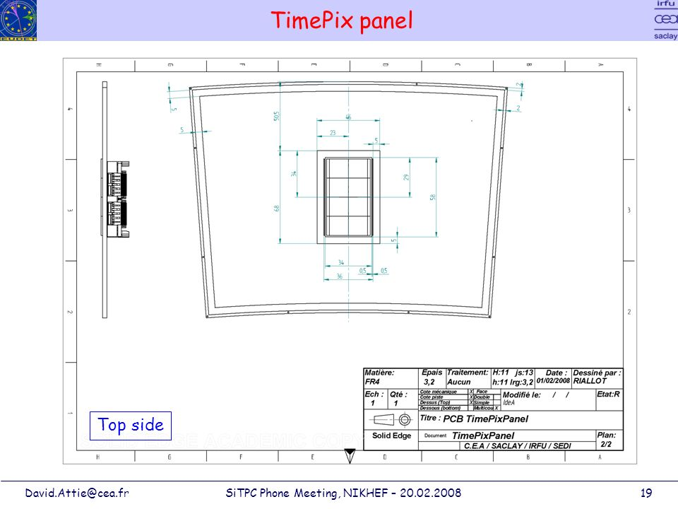 David.Attie@cea.frSiTPC Phone Meeting, NIKHEF – 20.02.200819 TimePix panel Top side