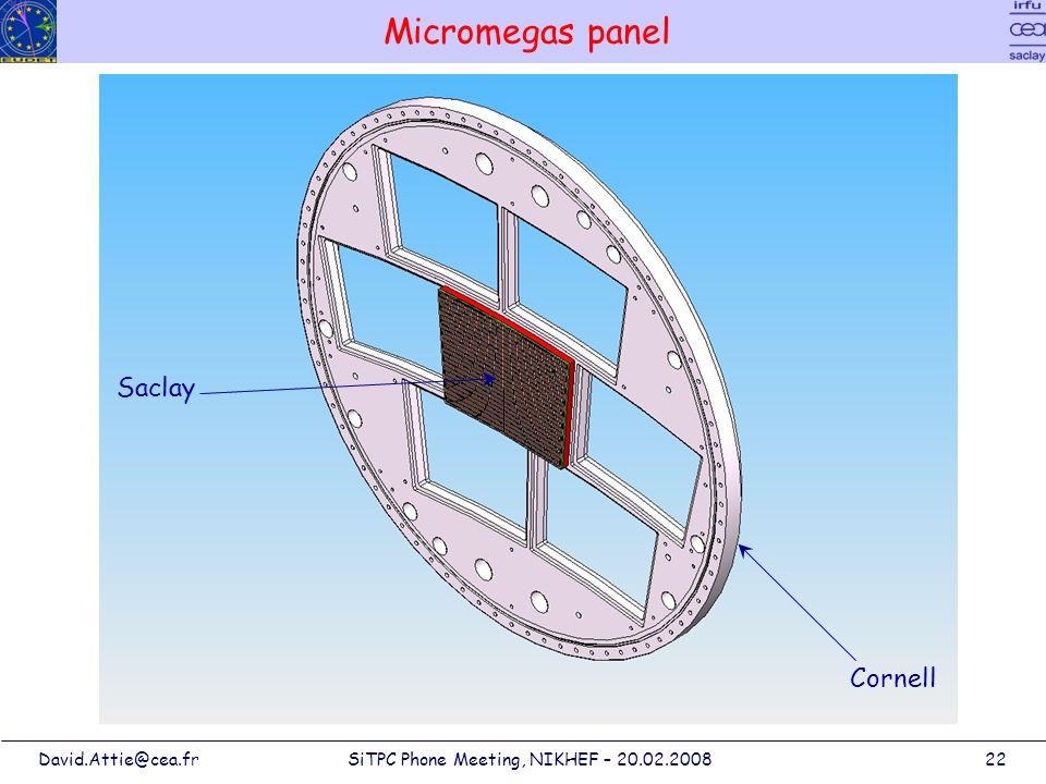 David.Attie@cea.frSiTPC Phone Meeting, NIKHEF – 20.02.200822 Micromegas panel Saclay Cornell