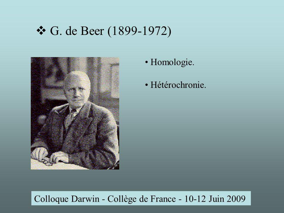 Colloque Darwin - Collège de France - 10-12 Juin 2009 G.