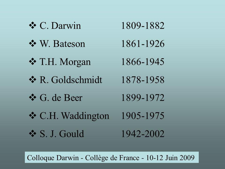 Colloque Darwin - Collège de France - 10-12 Juin 2009 T.H.