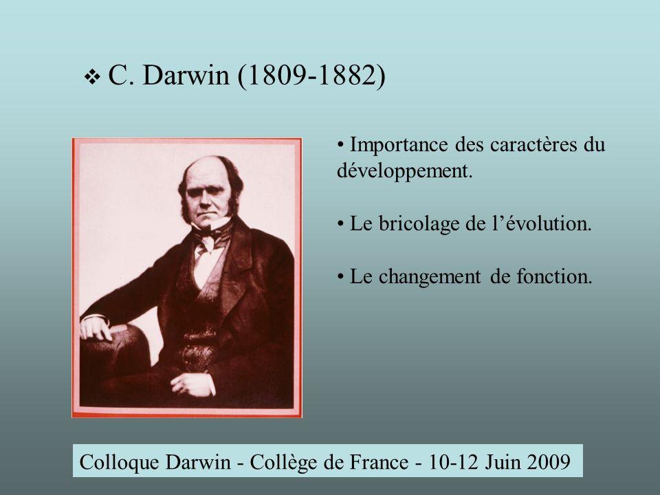 Colloque Darwin - Collège de France - 10-12 Juin 2009 C.
