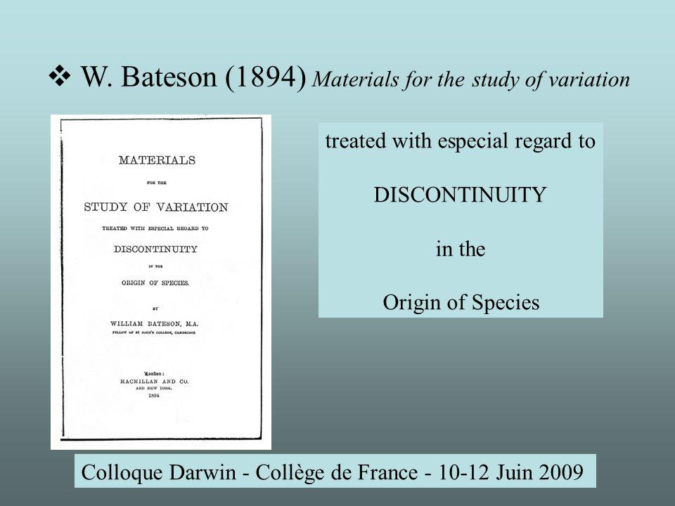 Colloque Darwin - Collège de France - 10-12 Juin 2009 W.