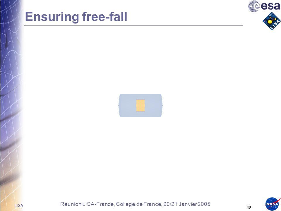 LISA 39 Réunion LISA-France, Collège de France, 20/21 Janvier 2005 Ensuring free-fall