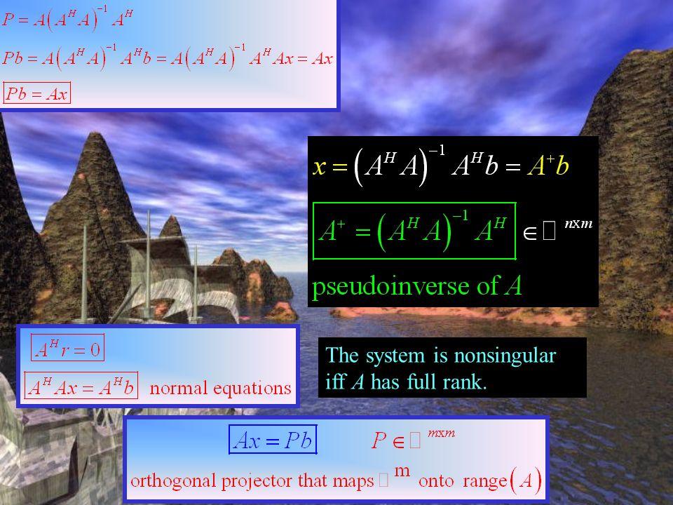 range(A) y = A x r = b - A x b The system is nonsingular iff A has full rank. = Pb