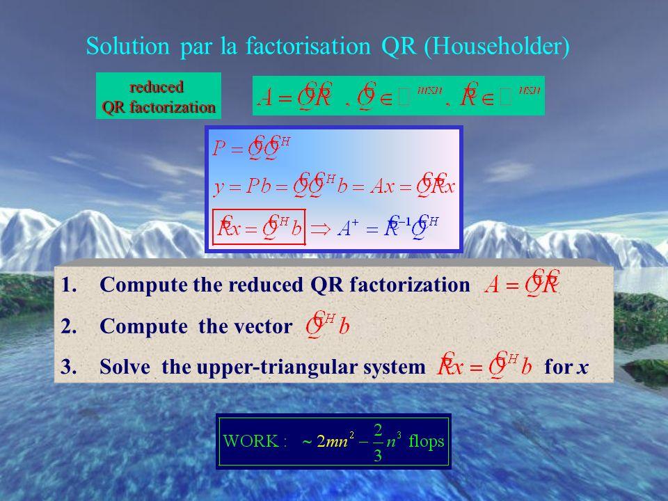Solution par les équations normales factorisation de Cholesky A H A est une matrice n x n hermitienne strictement définie positive A H AA H b 1. Form