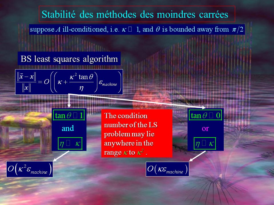Stabilité des méthodes des moindres carrées exemple équations normales unstable not even a single digit of accuracy factorisation de Cholesky