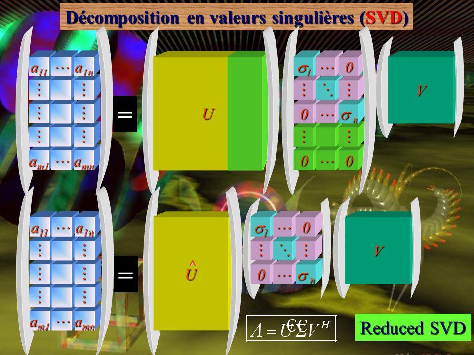 Décomposition en valeurs singulières (SVD) valeurs singulières a m1 a mn a 11 a 1n U 0 0 0 n n 10V = Full SVD