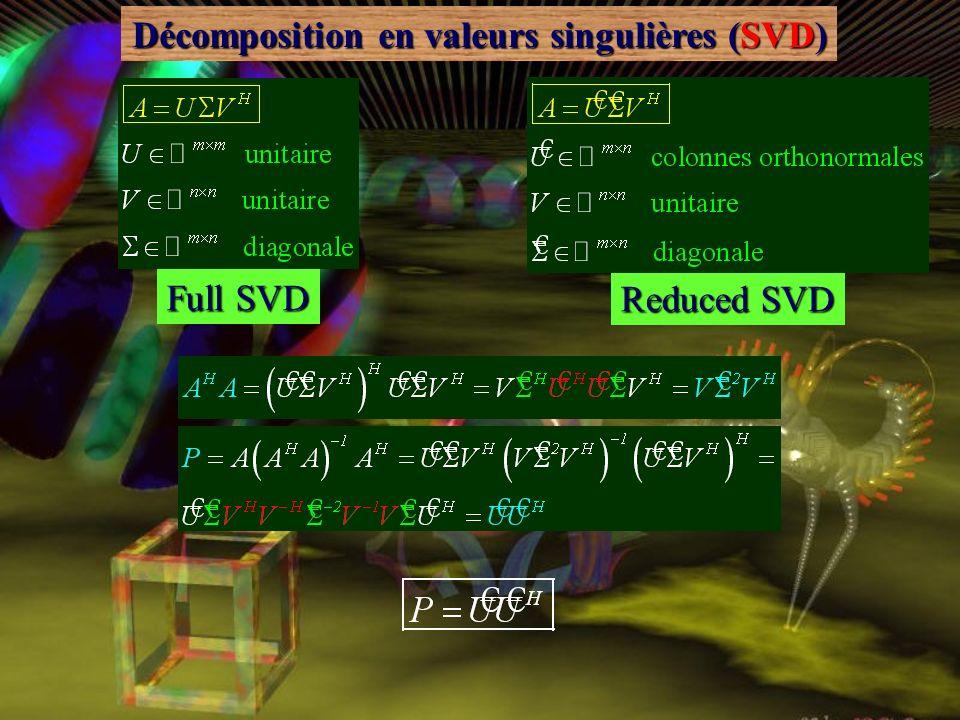 Décomposition en valeurs singulières (SVD) a m1 a mn a 11 a 1n U 0 0 0 n n 10V = Reduced SVD a m1 a mn a 11 a 1n U 0 n n 10V = ^