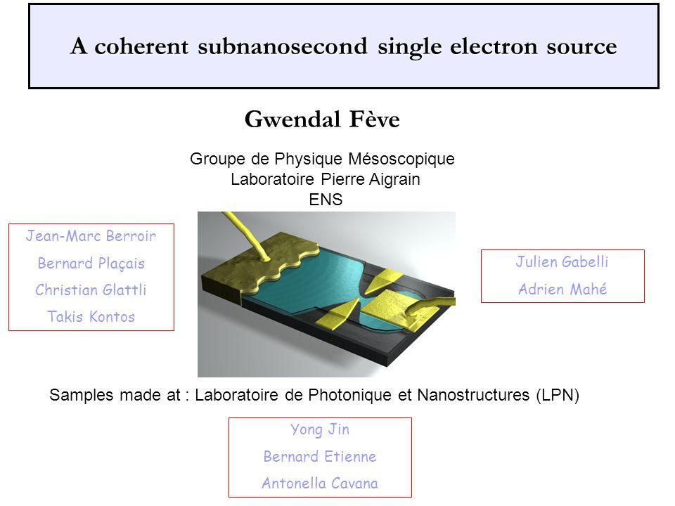 A coherent subnanosecond single electron source Jean-Marc Berroir Bernard Plaçais Christian Glattli Takis Kontos Julien Gabelli Adrien Mahé Groupe de