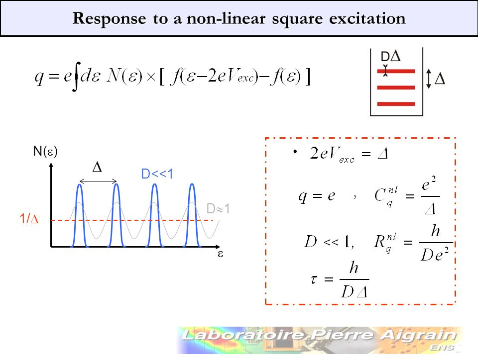 Response to a non-linear square excitation, N( ) << D<<1 D 1 1/