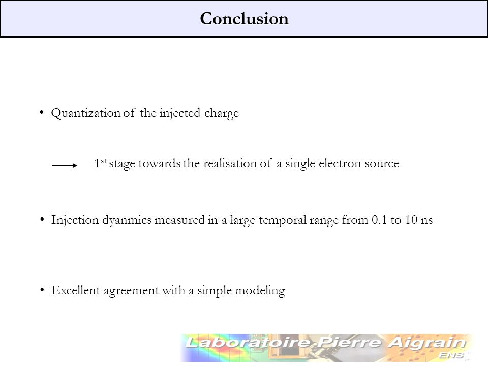 Conclusion Quantization of the injected charge 1 st stage towards the realisation of a single electron source Injection dyanmics measured in a large t