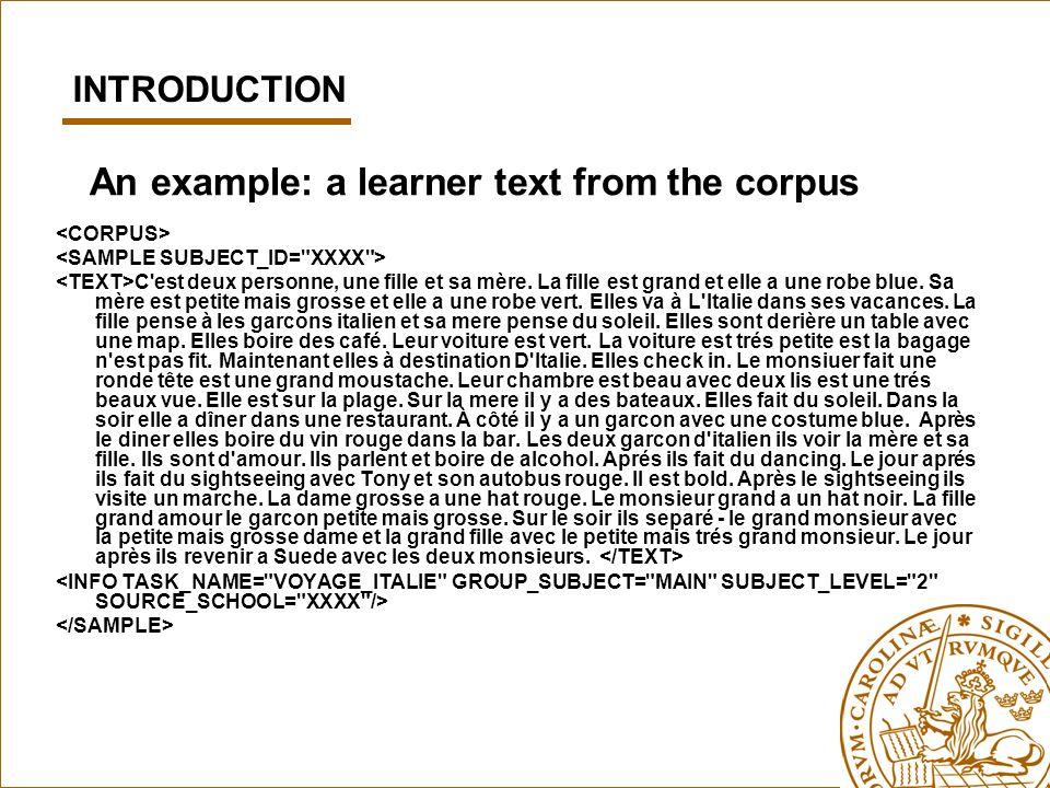 An example: a learner text from the corpus C'est deux personne, une fille et sa mère. La fille est grand et elle a une robe blue. Sa mère est petite m