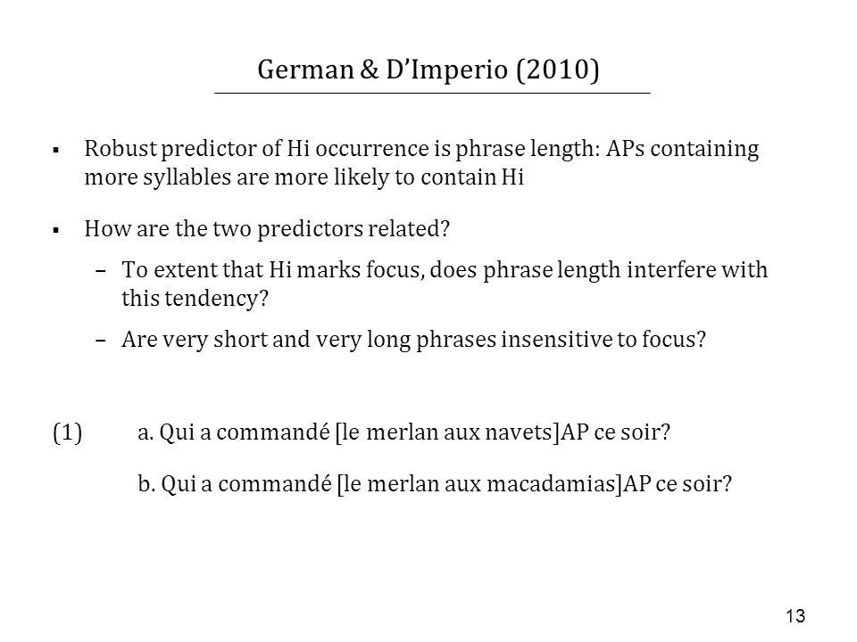 12 German & DImperio (2010) (1)i. Qui a commandé le merlan à la sauce citron ce soir.