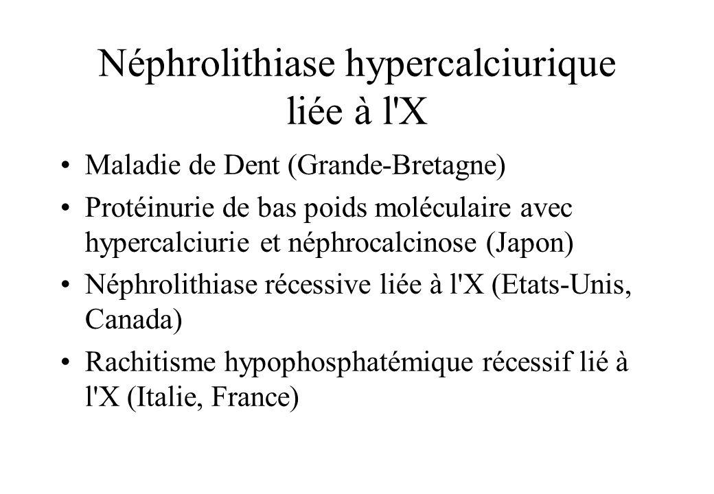 Néphrolithiase hypercalciurique liée à l'X Maladie de Dent (Grande-Bretagne) Protéinurie de bas poids moléculaire avec hypercalciurie et néphrocalcino