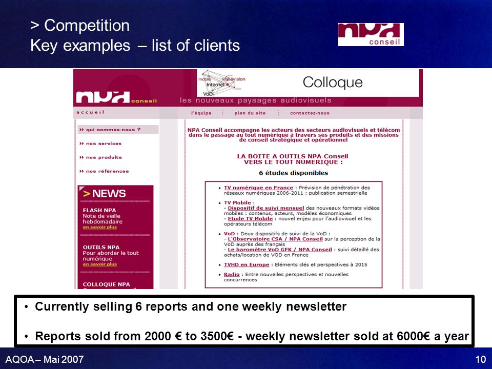 AQOA – Mai 2007 10 > Competition Key examples – list of clients Currently selling 6 reports and one weekly newsletter Reports sold from 2000 to 3500 - weekly newsletter sold at 6000 a year
