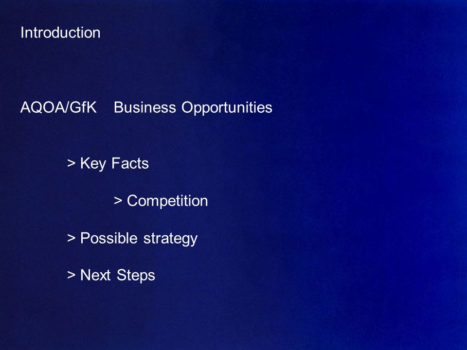 AQOA – Mai 2007 4 Introduction AQOA/GfKBusiness Opportunities > Key Facts > Competition > Possible strategy > Next Steps