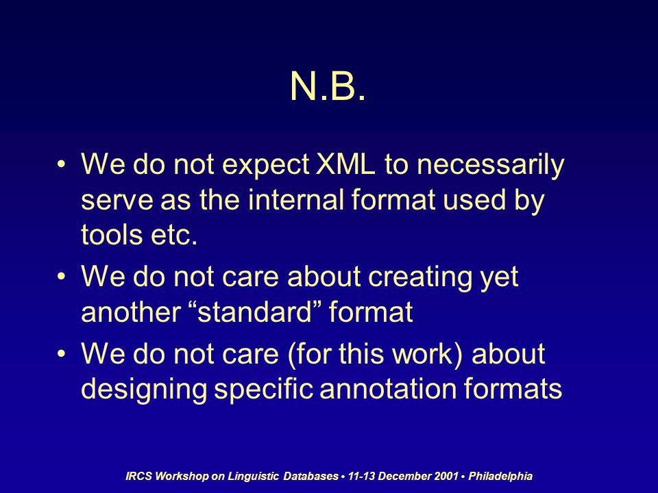 IRCS Workshop on Linguistic Databases 11-13 December 2001 Philadelphia N.B.