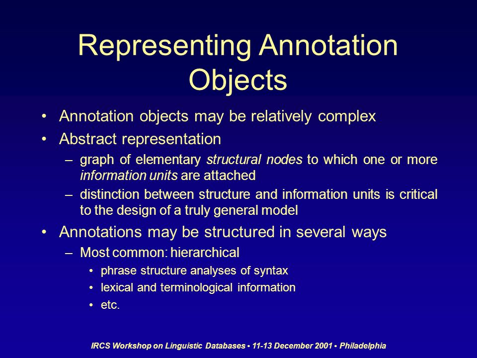 IRCS Workshop on Linguistic Databases 11-13 December 2001 Philadelphia Representing Annotation Objects Annotation objects may be relatively complex Ab