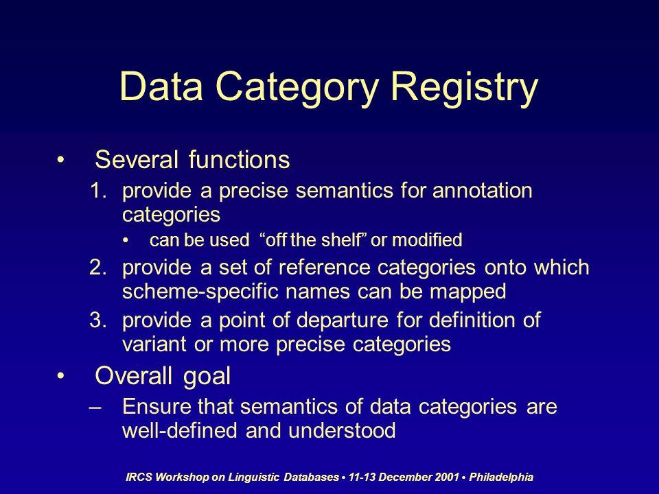 IRCS Workshop on Linguistic Databases 11-13 December 2001 Philadelphia Data Category Registry Several functions 1.provide a precise semantics for anno