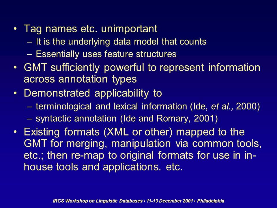 IRCS Workshop on Linguistic Databases 11-13 December 2001 Philadelphia Tag names etc.